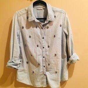 Nordstrom Embellished Denim Shirt